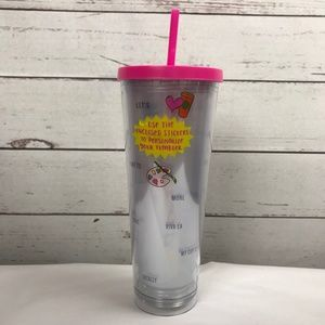 Starbucks Sticker Word Pictures Pink Clear Tumbler
